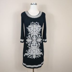 INC International Concepts Black Embroidered Dress